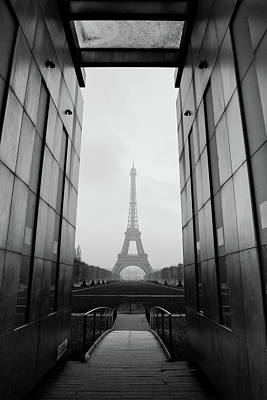 Built Structure Photograph - Eiffel Tower And Wall For Peace by Cyril Couture @