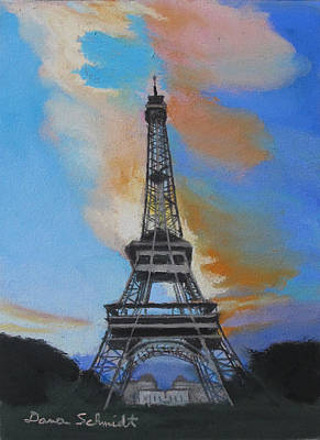 Painting - Eiffel Tower At Dusk by Dana Schmidt