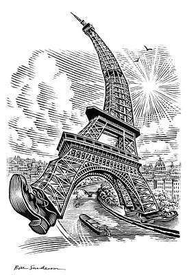 Linocut Photograph - Eiffel Tower, Conceptual Artwork by Bill Sanderson
