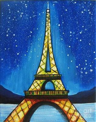Paris Painting - Eiffel Tower In Starry Night  by Vesna Antic