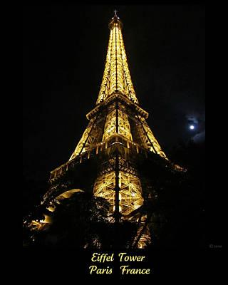 Photograph - Eiffel Tower Moon Light  Paris France by John Shiron