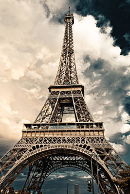 Photograph - Eiffel Tower On A Cloudy Day by Anthony Doudt
