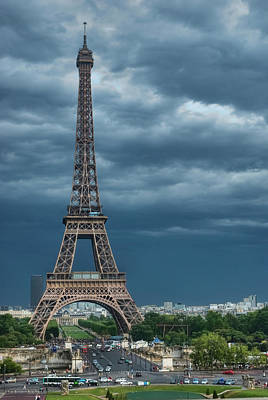 Eiffel Tower On A Stromy Weather Art Print by Mihaela Muntean
