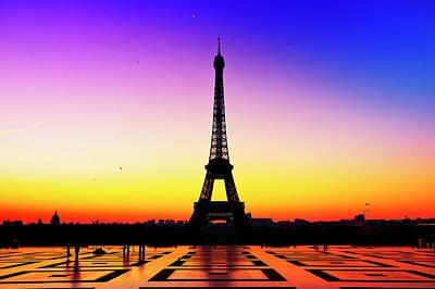 Paris Photograph - Eiffel Tower Silhouette In Sunrise by Audun Bakke Andersen
