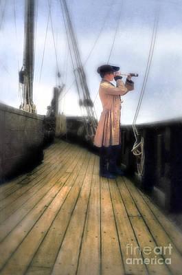 Eighteenth Century Man With Spyglass On Ship Print by Jill Battaglia