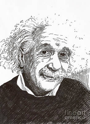 Ulm Drawing - Einstein by Pat Barker