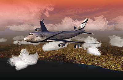 Digital Art - El Al D. Tel Aviv by Mike Ray