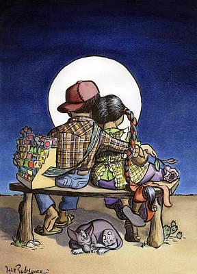 Campesinos Painting - El Amor De Luna by Isis Rodriguez