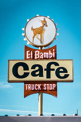 Photograph - El Bambi Cafe Sign by Chris Fullmer