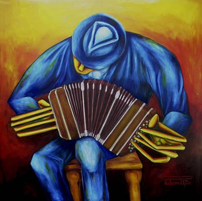 Painting - El Bandoneonista by Virginia Palomeque