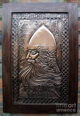 Metal Embossing Relief - El Cid Hero In Copper by Cacaio Tavares