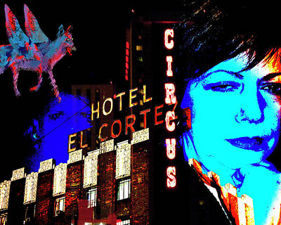 Photograph - El Cortez With Winged Coyote And Women by Ann Tracy