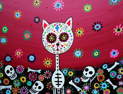 Skull Painting - El Gato Day Of The Dead by Pristine Cartera Turkus