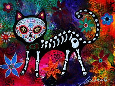 Folk Painting - El Gato II Dia De Los Muertos by Pristine Cartera Turkus