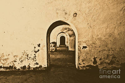 Photograph - El Morro Fort Barracks Arched Doorways San Juan Puerto Rico Prints Rustic by Shawn O'Brien