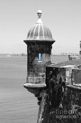 Art Print featuring the photograph El Morro Sentry Tower Color Splash Black And White San Juan Puerto Rico by Shawn O'Brien