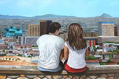 Elpaso Painting - El Paso - Enjoying The View - Disfrutando El Panorama by Maritza Jauregui Neely
