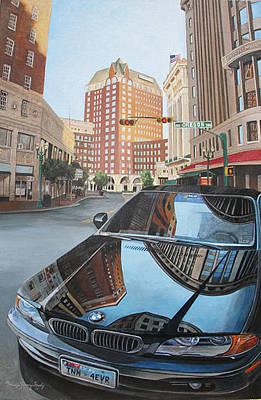 Elpaso Painting - El Paso - Hood Reflections - Reflecciones En El Cofre by Maritza Jauregui Neely