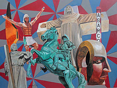 Elpaso Painting - El Paso - Iconic Impression - Impresion Iconica by Maritza Jauregui Neely