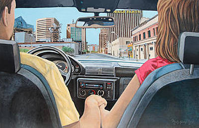 Elpaso Painting - El Paso - Out And About - Recorriendo El Vecindario by Maritza Jauregui Neely
