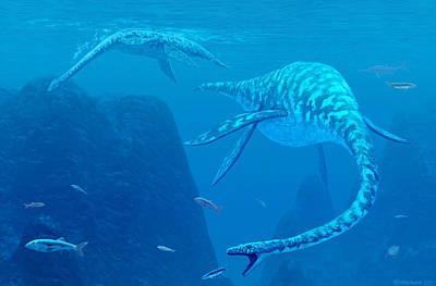 Triassic Photograph - Elasmosaurus Marine Reptiles by Chris Butler