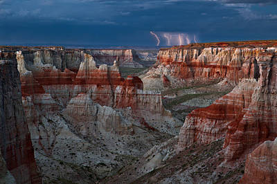 Lightning Photograph - Electric Canyon by Guy Schmickle
