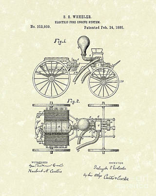 Electric Fire Engine 1885 Patent Art Art Print