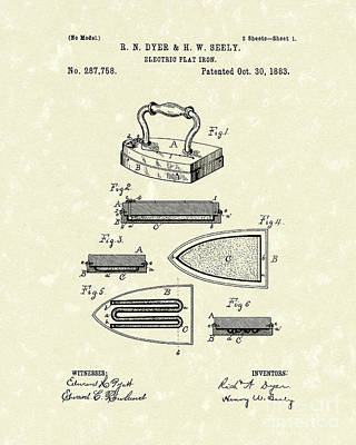Dyer Drawing - Electric Flat Iron 1883 Patent Art by Prior Art Design