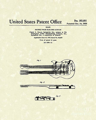 Neck Drawing - Electric Guitar 1958 Patent Art by Prior Art Design