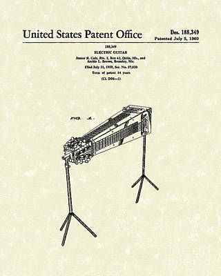 Music Drawing - Electric Guitar 1960 Patent Art  by Prior Art Design