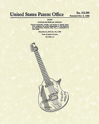 Music Drawing - Electric Guitar 1968 Patent Art  by Prior Art Design