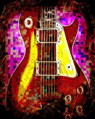 Electric Guitar Abstract Art Print by David G Paul