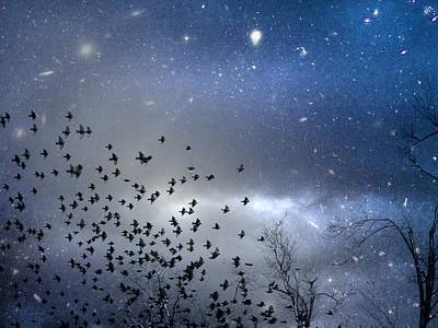 Flock Of Bird Digital Art - The Night Was Electrically Charged by Gothicrow Images