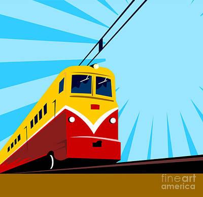 Electric Passenger Train Retro Art Print by Aloysius Patrimonio