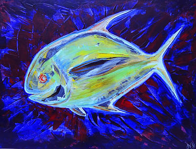 Caribbean Abstract Painting - Electric Pompano by Jeremy Smith