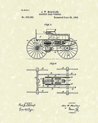 Electric Road Vehicle 1893 Patent Art Art Print by Prior Art Design