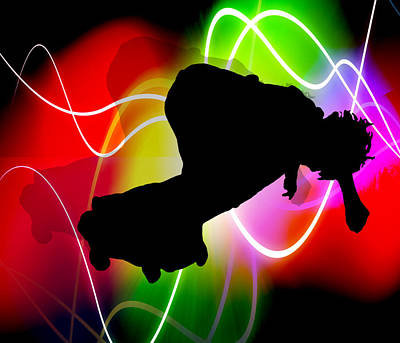 Extreme Sports Painting - Electric Spectrum Skater by Elaine Plesser