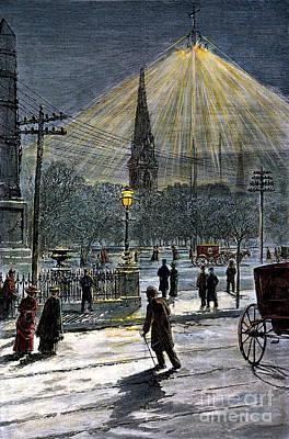 Streetlight Photograph - Electric Streetlight, 1881 by Granger
