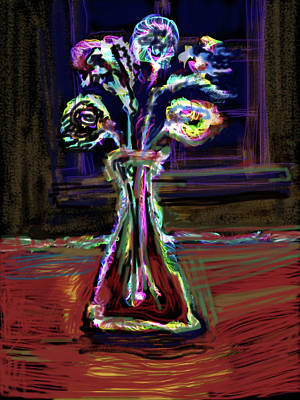 Glass Table Reflection Mixed Media - Electric Vase by Russell Pierce