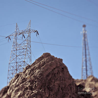 Electrical Lines In The Desert Art Print