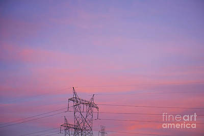Electricity Pylon At Sunset Art Print by Dave & Les Jacobs