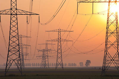 Electricity Pylons Art Print by Hans Engbers