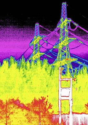 Electricity Pylons, Thermogram Art Print by Tony Mcconnell