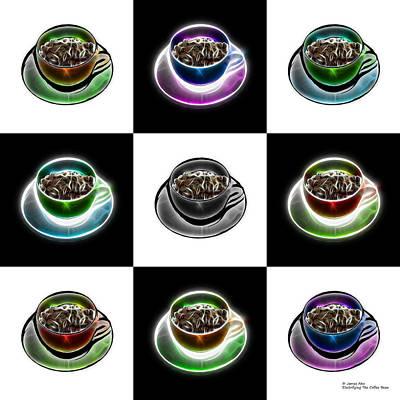 Digital Art - Electrifyin The Coffee Bean - Mosaic Version 2 by James Ahn