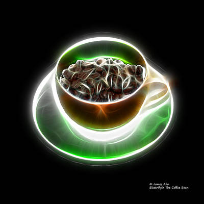 Digital Art - Electrifyin The Coffee Bean -version Orange by James Ahn