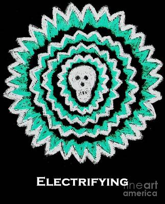Electrifying Skull - Turquoise On Black Art Print by Jeannie Atwater Jordan Allen