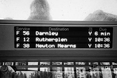 Busstop Photograph - Electronic Bus Timetable In Central Glasgow Scotland Uk by Joe Fox