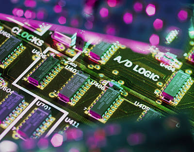 Integrated Photograph - Electronic Circuit Board From A Computer by Steve Horrell