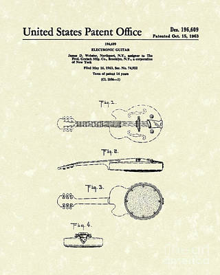 Music Drawing - Electronic Guitar 1963 Patent Art  by Prior Art Design