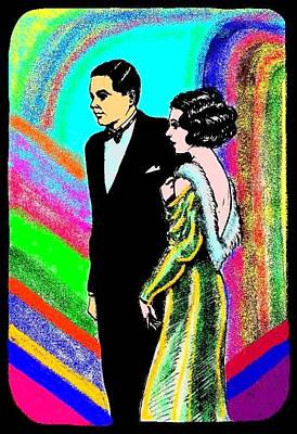 Evening Gown Drawing - Elegant Couple Color by Mel Thompson